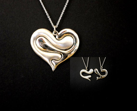 Love heart, Love jewelry, heart necklace, puzzle jewelry, friendship, family love, sterling silver hand cerved