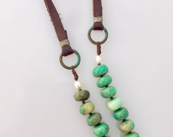 SALE! Long Bohemian Chrysoprase Faceted with Freshwater Pearl and Leather Anahata Necklace