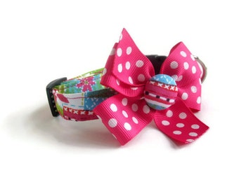 Pink and Green Patchwork Dog Collar size Extra Small