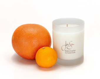 Mandarin Grapefruit Natural Soy Candle with Essential Oils, Eco friendly, small 8 oz (227 grams)
