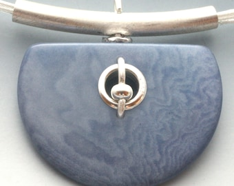 Half Moon Periwinkle Tagua Nut and Sterling Silver Necklace