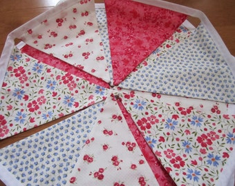 Fabric Vintage Floral Girls Room, Wedding, Garden Party Bunting Flags 12
