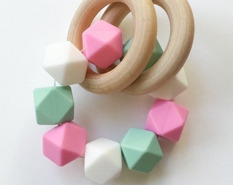 Wooden Teether's Wooden Rattle Infant Rattles Silicone Rattle Infant Silicone Teether Double Ring Teether Silicone Bead Teether Pink Teether