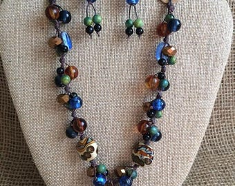 Linen handmade beaded necklace with vintage lace