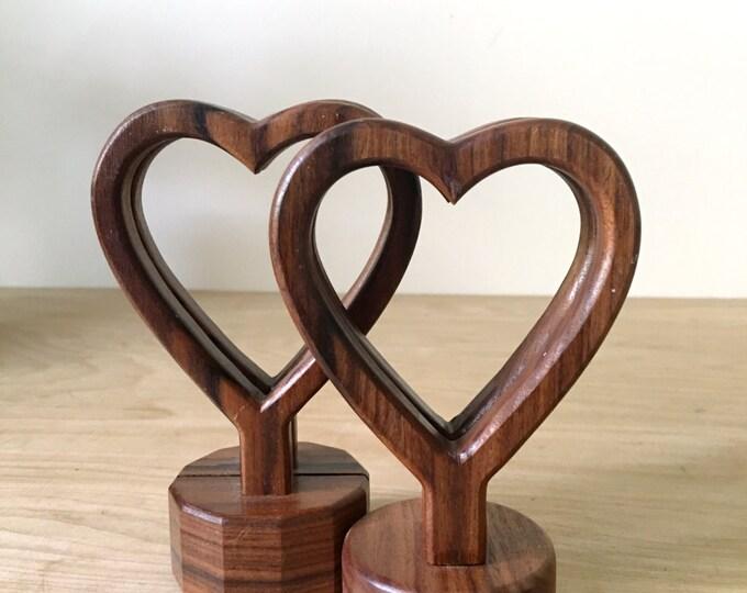 Vintage Wooden Heart Shaped Napkin Holder / Letter Display