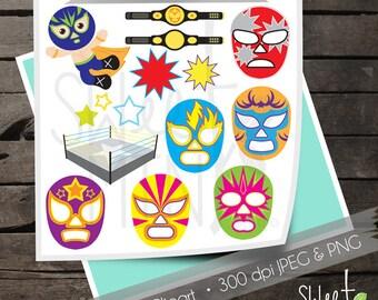 Lucha Libre Clipart, Wrestling Clip Art, Digital Download, Instant Download, Printable, Lucha Libre Masks, Wrestler, Wrestling Ring, Fighter