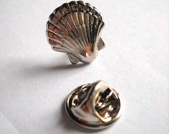 Camino de Santiago Silver Scallop Shell Pilgrim Lapel Pin