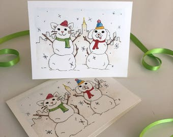 Snowpets in New York City Holiday Cards!  Set of 4 with Snow Dog & Cat in NYC skyline