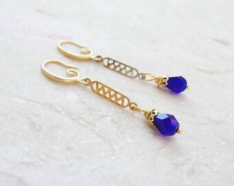 Cobalt Blue Earrings - Vintage gold filigree and Crystal