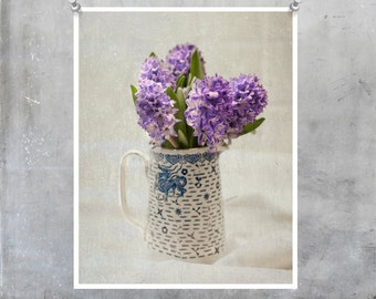 Flower fine art photography print Shabby Chic hyacinth Still Life flowers purple lilac blue and white jug gift for her floral home decor