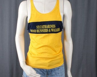 Yellow tank vintage road runners tank top blouse sleeveless size S small
