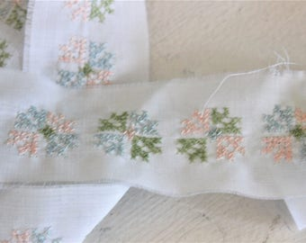 Vintage Cross-Stitch Trim Blue Pink Green And White / 9.5 Yards, 1.75 Inch Wide / Costume Sewing Baby Supply