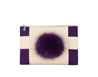 Indigo purple felt and leather clutch bag