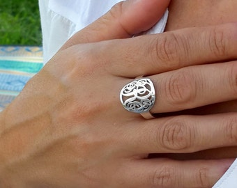 Monogram Ring -Personalized Circle Custom Made Ring with any initials you wish - 925 Sterling Silver