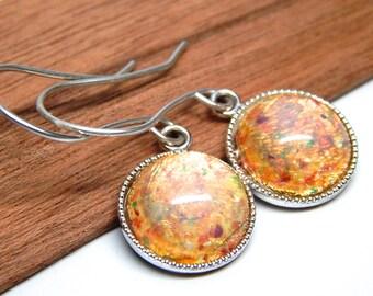 Glass opal earrings, pink opal jewelry, round opal earrings, silver gold opal jewelry, pink opal gift