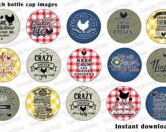 "1 inch bottle cap images - 1 inch digital images - Chicken bottle cap images - Chicken images - 4x6 image sheet - 15 images - 1"" Crafts"