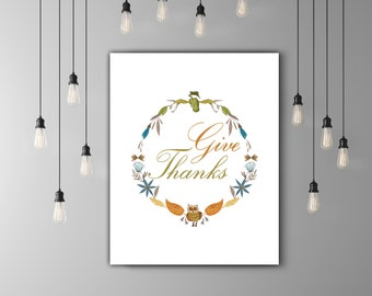 Give Thanks, Thanksgiving Wreath Print, Thanksgiving Gift, Holiday Decor, Fall Wreath Decor, Fall Colors Thanksgiving Print, Autumn Wreath