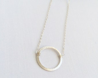 Halo in sterling silver • flat round brushed sterling silver necklace // sterling silver