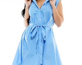 Fifth Degree Denim Color Plus Size Shirt Dress with Front Tie - Free Shipping