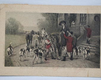 old italian postcard whit horse and dogs