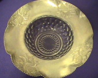 Vintage Aluminum and Glass Party Dish