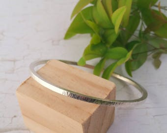 Eco Friendly Sterling Silver Hammered Bangle. Solid Bangle. Silver Bracelet. Silver Bangle. Recycled Silver.