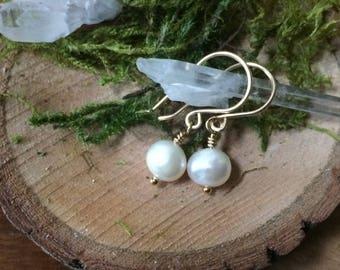 Freshwater Pealrl Earrings, 14K Gold Filled,