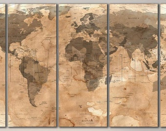 Ancient world map etsy political vintage ancient world map diptych triptych multi panel large canvas print gallery wrap gicle art gumiabroncs Gallery