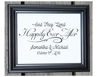 And They Lived Happily Ever After | Wedding Gift | Personalized Wedding Gift Ideas | Wedding Decor | Anniversary Gifts | Couples Gift