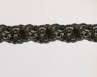Lace Black Lace and Gold 4 cm in width