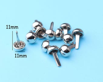 100pcs nailhead Mushroom Rivets Silver Purse Rivet,Mushroom Rivet Hardware Accessories Used For Handbag DIY clothing pattern--11*11mm cl15