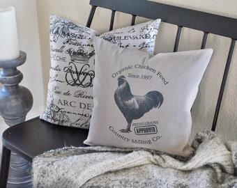 Chicken Feed Pillow Cover | Farmhouse Chicken Pillow Cover | Farmhouse Throw Pillow | Farmhouse Cottage Decor