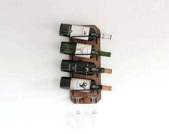 Gift For Wine Lovers, Wall Mounted Wine Rack, Small Wine Rack, Rustic Wine Rack, Wedding Gift