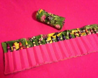 Crayon Roll Up Holder Case Yellow Birds Finches Flowers Handmade Holds 16 Crayons
