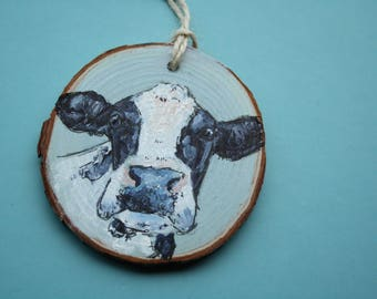 Hand Painted Wood Slice: Cow Painting