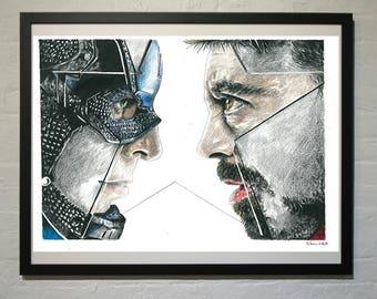 Captain America Iron Man Civil War Drawing Print
