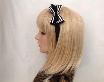 Black white striped headband hair bow rockabilly psychobilly pin up girl vintage retro cute kawaii accessories cute gothic pretty velvet