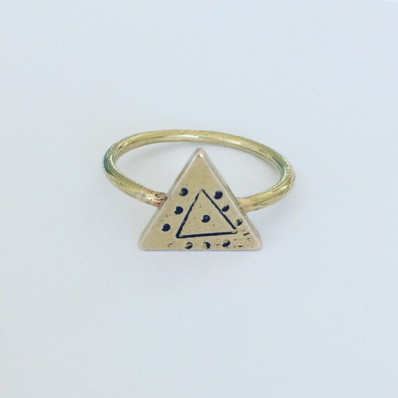 Evil Eye Raw Brass Ring - Geometric - Tribal - Boho - Triangle - Gold - Shamanic - Magic - Mystic - Talisman - Festival - Gypsy