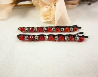 Red Glass Beaded Hair Pins/Beaded Bobby Pins/Hair Accessories/Hair Jewelry/Handmade Hair Pins/Bobby Pins/Boho Accessories/Hair Pins