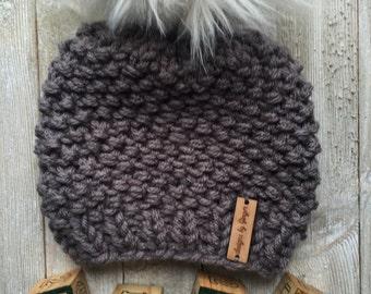 Knitted Baby Hat with LARGE 6 inchFaux Fur Pom - Chunky Knitted Baby Hat - Baby Knitted Hat - Faux Fur Pom Pom - Baby pom pom hat