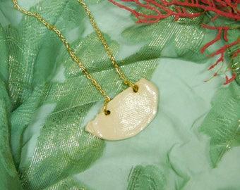 Organic Half-Circle Necklace // Pink // Gold