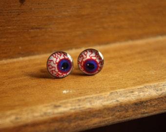 BloodShot Eyeball Earrings, Freak Show, creepy earrings, halloween stud