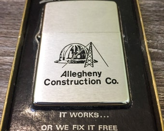 1976 Allegheny Construction Co. Zippo Lighter, Vintage, Like New in Original Box