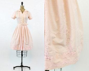 50s Dress Embroidered XS / 1950s Vintage Dress Shirtwaist / Isabella Dress