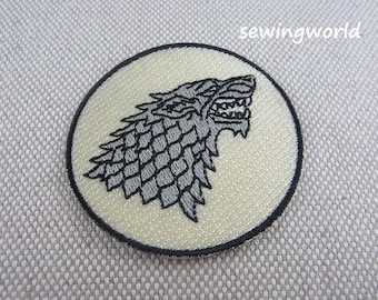 Iron-on Patch, Wolf Badge, Embroidered Patch for Jeans, Backpack