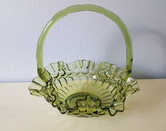 Vintage Fenton green glass basket candy dish