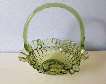 Vintage Fenton green glass basket candy dish