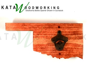 Oklahoma Shaped Wood Cut-out Bottle Opener - Wall Mount - Handmade!