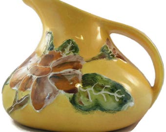 Vintage Decor Creamer Ceramic Pitcher Raised Floral Motif 5 Inches Tall Artisan Signed
