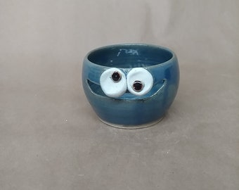 Cooking Gadget Egg Divider. Blue Smiley Face. Baking Tools. Ceramic Egg Separator. Traditional Functional Pottery Face Jar